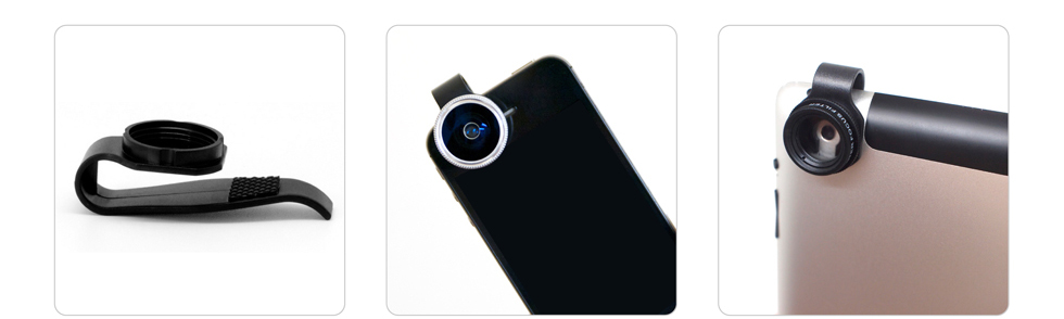 The provided clip fits sungly outo your iPhone or iPad