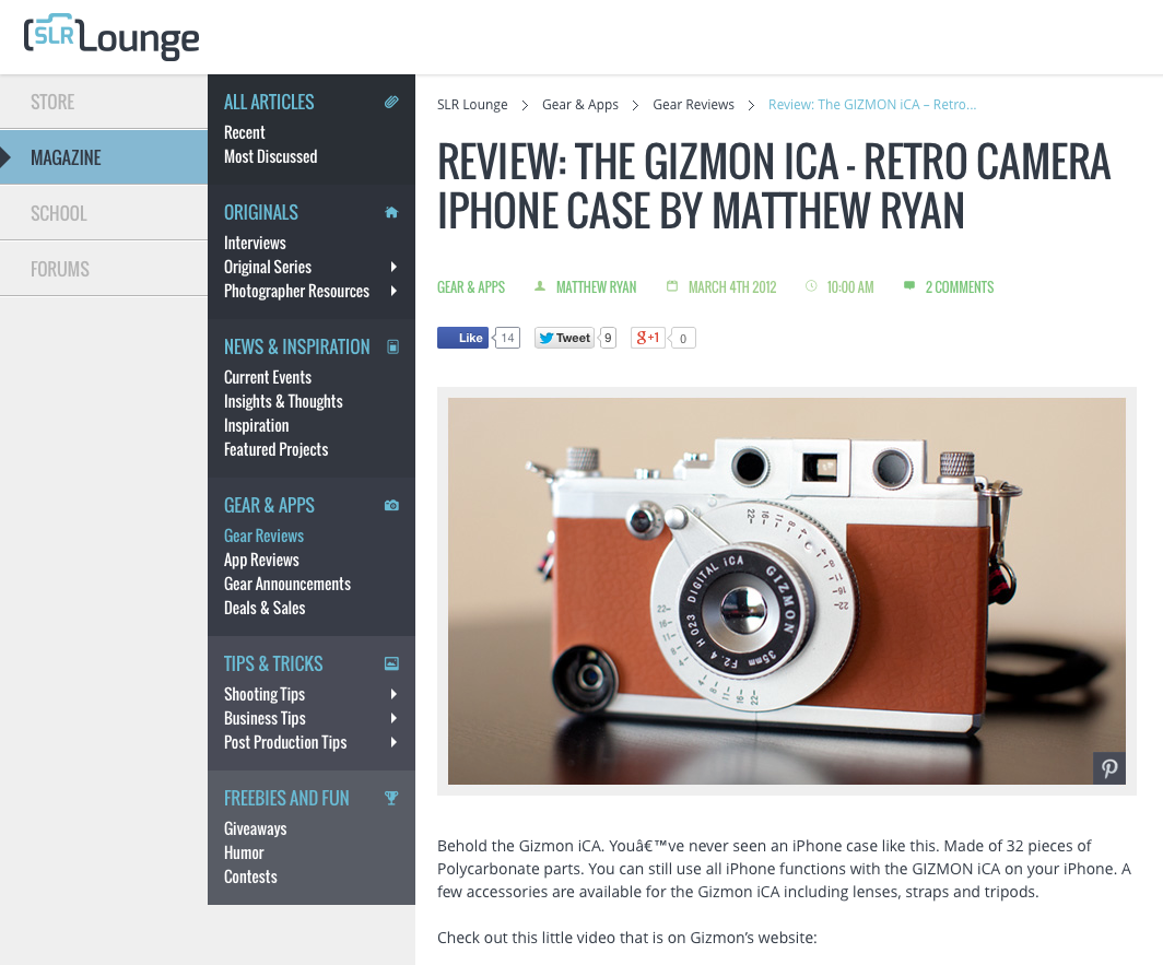 """SLR Lounge"" did a review of GIZMON iCA"