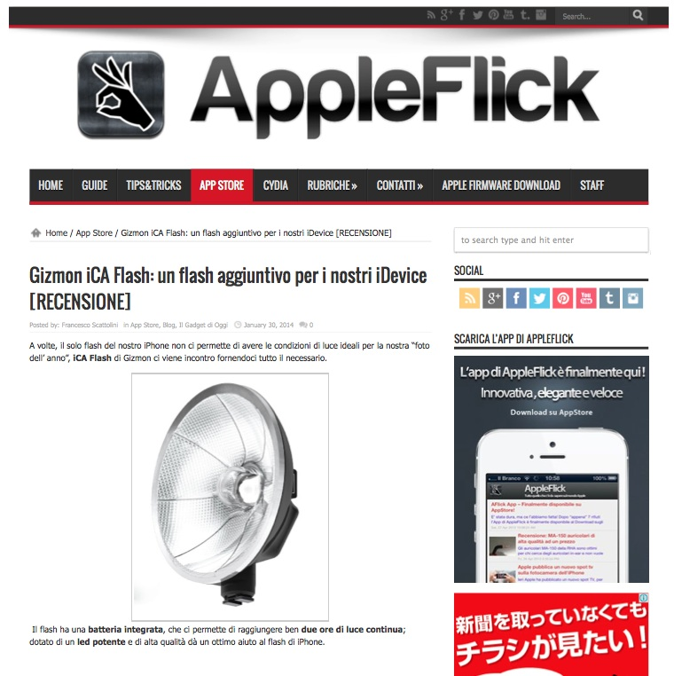 """AppleFlick"" did a review of iCA FLASH & GIZMON SMART CLIP"