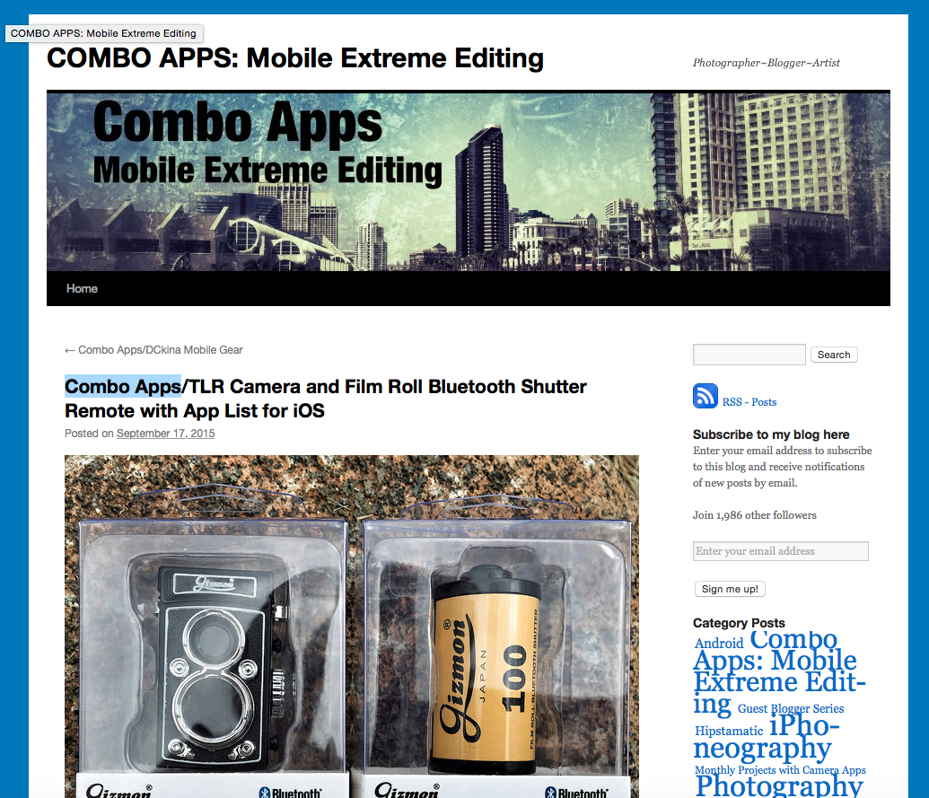 """Combo Apps"" did a review of TLR Camera and Film Roll Bluetooth Shutter."