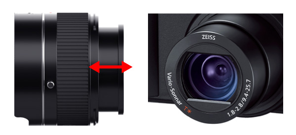 Expands and contracts with the camera's collapsible Lens