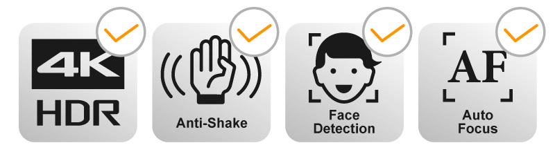 4K動画、手振れ補正、顔認識、オートフォーカスの全てに対応しています。
